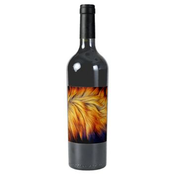 Cool horse tail fur texture trendy design wine label