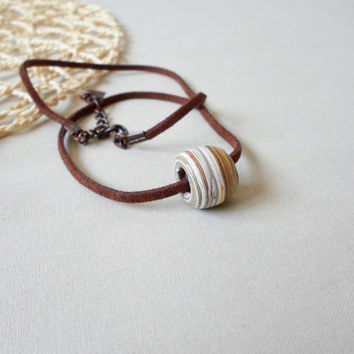 ONLY ONE, Minimalist Necklace. Ceramic handmade vintage bead  Necklace. Leather Suede cord. Everday Necklace. Allday jewelry.