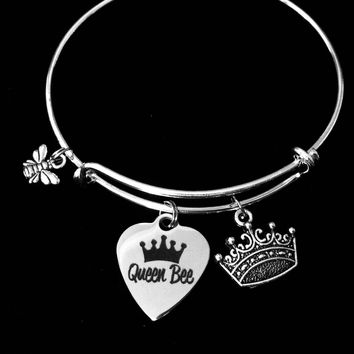 Queen Bee Expandable Charm Bracelet Crown Jewelry Trendy Adjustable Silver Bangle Collectable Stacking One Size Fits All Gift