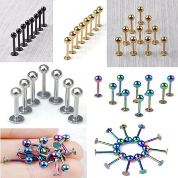 1PC LABRET BODY PIERCING BAR LIP RING STUD 10G RAINBOW GOLD BLACK SILVER HOT