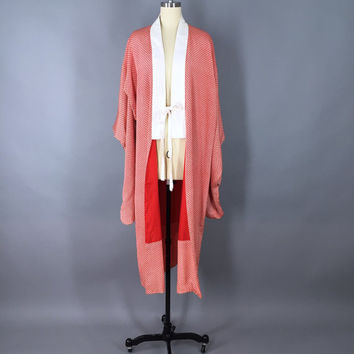 Vintage 1920s Silk Kimono Robe / Silk Robe / 20s Dressing Gown / 1920 Wedding Lingerie / Furisode Juban / Japanese Art Deco / Red Shibori