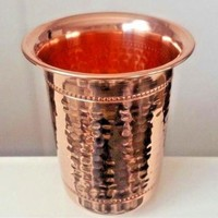 2 Copper Drinking Glasses (NOT PLATED or IN LINING) Hammered Pure 12 oz