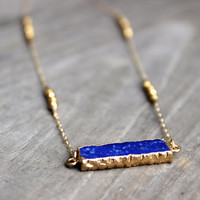 Blue Lapis Bar Necklace on 14k Gold Filled Chain and Gold Nugget Beads Royal Blue and Gold Necklace