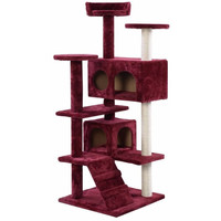 Wine Color Cat Tree Tower Condo