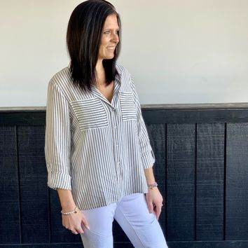 Pinstriped Button Down Top
