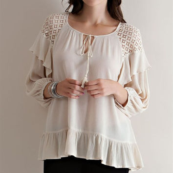 Lace Shoulder Ruffled Blouse - Natural