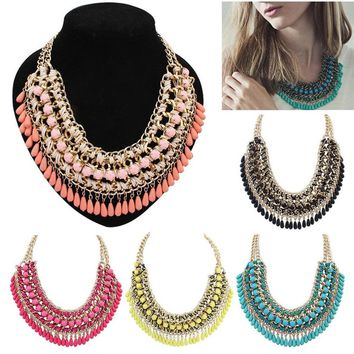 HOT Elegant Women Bohemia Knitting Chunky Necklace Choker Bib Statement Collar Necklace Jewerly