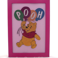 winnie the pooh holding baloons, quilled winnie the pooh picture in a frame, pooh nursery decor, pooh bear, pooh baby gift, pooh baby