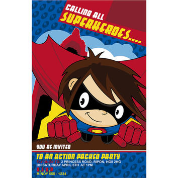 Cute Cartoon Comicbook Superhero - Superboy Birthday Party Invitation - Digital Printable Hero Invite