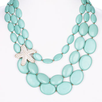 Coral Starfish Set in Turquoise