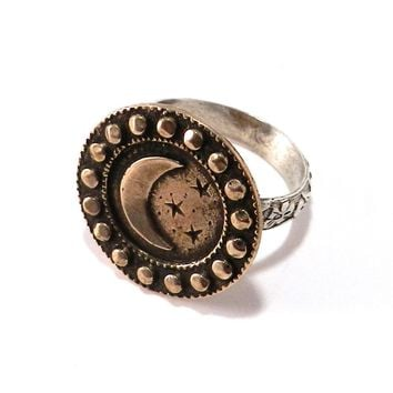 LARGE MOON Antique Button Statement Ring - MIXED METAL