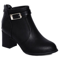 Ankle Boots With Buckle and Zipper Design