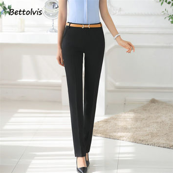 Spring 2017 Formal female trousers OL women straight pants slim western-style trousers plus size work wear pants black color
