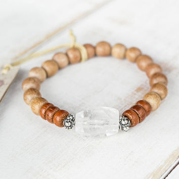 Big crystal bracelet, Silver and rosewood bracelet, Large crystal, Reiki healing, Raw crystal jewelry, Crown chakra wooden bracelet