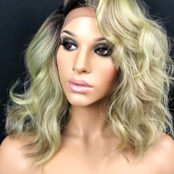 """Sage Green Short Curly Messy Bob, Bedhead Style Dark Rooted Blonde 4"""" Part Heat Safe, Swiss Lace Front Wig 10"""" Length, Dirty Green"""