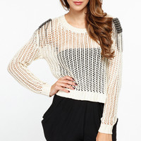 Metallic Shoulder Pad Loose Knit Sweater