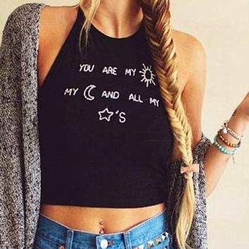 Casual Letter Print Sleeveless Halter Neck Crop Top