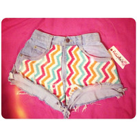 Colorful zig zag vintage high waist or low rise by FatLipBella