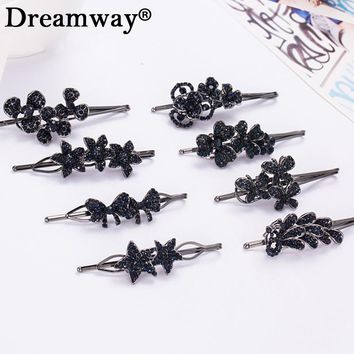 8 Type Deep Blue Crystal Hairpins Metal Women Lady Girls Stars Bowknot Barrette Hair Clip Hair Accessories Decorations