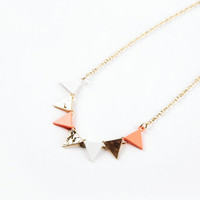 Coral Pennant Banner Necklace