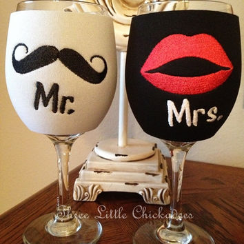 Wine Koozies Wedding Mr and Mrs Mustache Lipstick Koozie  Wedding Koozie  Solo Cup Koozie  Reception Koozie  Bride Groom