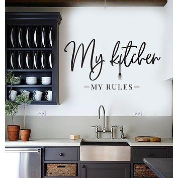 Vinyl Wall Decal My Kitchen My Rules Quote Words For The Kitchen Stickers (4010ig)