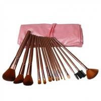 Professional 15 Pcs Coffee Makeup Make up Cosmetic Brushes Set Kit Eyeshadow Eyebrow Eyelash Eyeliner Lip Powder Brush with Pink Bag Case Pouch
