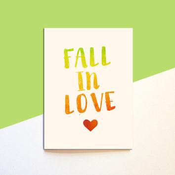 Fall In Love Card - Fall Autumn Watercolor Card - Love Best Friend Family Boyfriend Girlfriend - Cute Modern Fun Funny 5x7