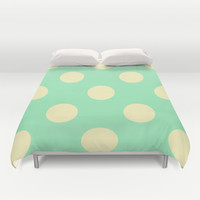 Vintage Cream and Mint Polka Dots Duvet Cover by Kat Mun