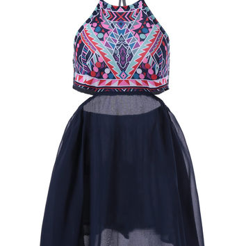 Ethnic Halter Tribal Print Cut Out Dress
