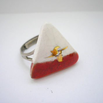 Vintage silver tone metal with porcelain cabochon adjustable size ring