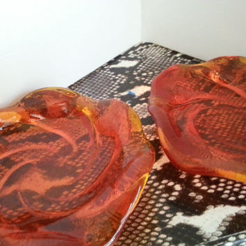 Mid Century Heavy Orange Glass Dishes, Set of 2 Ashtrays, Man Cave Mad Men Mod Home Decor, 1950's 1960's Collectible Glass