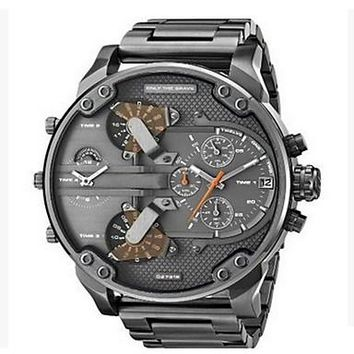 Men's Military Watch Dress Watch Fashion Watch Wrist watch Chinese Quartz Calendar / date / day Dual Time Zones Punk Large Dial Stainless