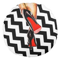 Black White Red Bottom Shoes Heels Pumps Fashion Round Pillow