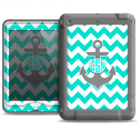 The Teal Green and Gray Monogram Anchor on Teal Chevron Apple iPad Air LifeProof Fre Case Skin Set