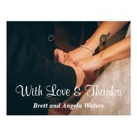 Simple Wedding Photo Love & Thanks Postcard
