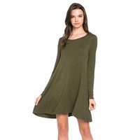 Solid Swing Dress with Pockets Olive