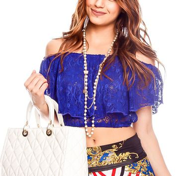 ROYAL BLUE OFF SHOULDER LACE CASUAL CROP TOP