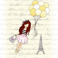 CIJ SALE Girl in Paris, Bon Voyage, kids wall art, yellow balloons, pink grey decor, Kawaii 11x14 print Christmas in July christmasinjuly
