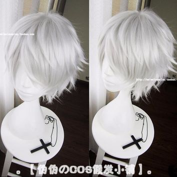 IHYAMS Wigs Tokyo Ghoul Kaneki Ken Wig Short Straight Silver Grey Synthetic Hair Cosplay Anime Wigs Heat Resistance Fiber