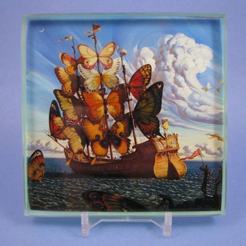 Ship with Butterfly Sails by Salvador Dali Square Decoupage Glass Tile Paperweight with Display Stand
