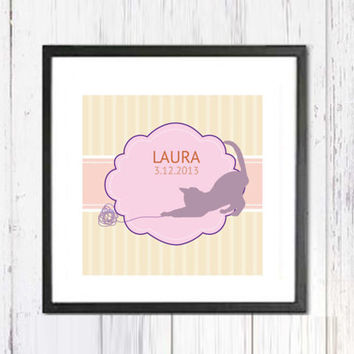 Customized Nursery Art Print, Pastel Colors Art, Nursery Art Decor, Kids Wall Art, Kids Print, Pink Nursery Poster, Personalized Art,5''x5''