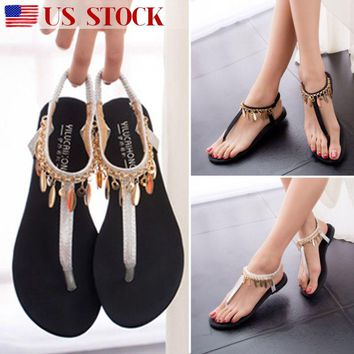 Women Elegant Ankle Strap Thong Sandals Shoes Gladiator Open Toe Flat Flip Flops