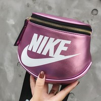 NIKE Fashionable Women Men Leather Purse Waist Bag Shoulder Bag Crossbody Pink Purple