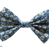 Blue and Beige Floral Hair Bow