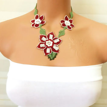 Turkish Igne Oya Crochet Necklace,Burgundy and White Leaf on Green Ribbon Lace,Gift Necklace,Brides Accessories,Burgundy/Green/White Color