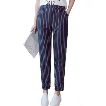 Inmodai Women's Casual Pants Elastic Waist Striped Pants England Style SweatPants OL Work Wear Trousers Harem Pants INM290