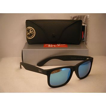 Cheap Ray Ban 4165 Justin Rubber Black w Blue Mirror Flash Lens (RB4165 622/55 51)