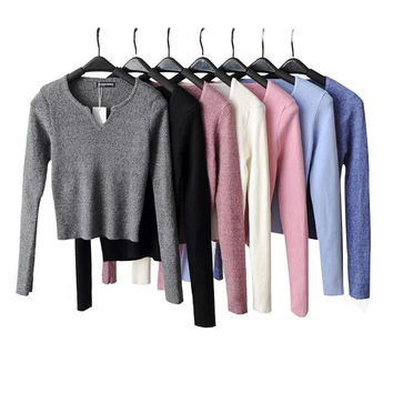 2T06 Autumn fashion Women elegant Knitted short Sweaters gray pullovers V-Neck casual stretch fit long Sleeve Brand female tops
