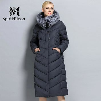 SpiritMoon 2017 Women Winter Down Jacket Winter Coat Women Hooded Parka With Natural Fur Collar Silver Fox Big Plus Size 5XL 6XL